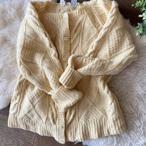 Sweaters - Vintage cable knit wool cardigan -creamy yellow